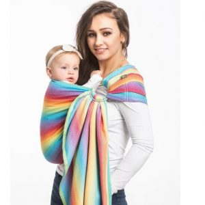 sling inele lenny lamb bambus herringbone rainbow light