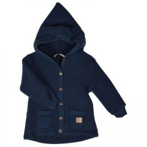 Cardigan Mikk-line cu gluga lana merinos fleece Blue Nights