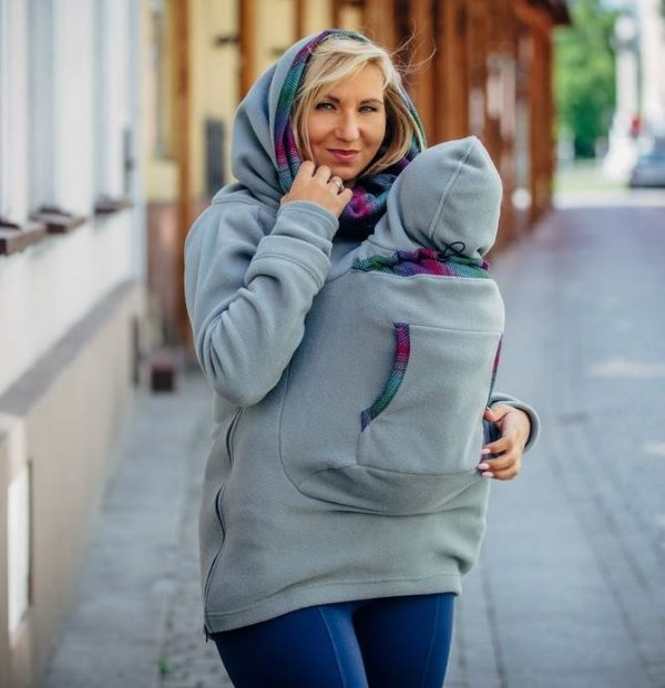 Hanorac fleece babywearing LennyLamb grey