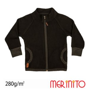 Hanorac fleece lana merinos merinito moonless black