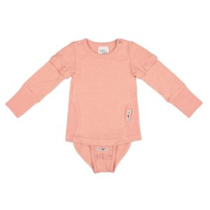 Body tricou 2 in 1 maneci detasabile canepa bumbac organic Manymonths Peach Rose
